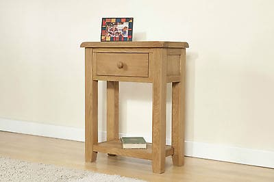 Burnham Solid Chunky Wood Rustic Oak Small Telephone Lamp Hall Console Table Unit