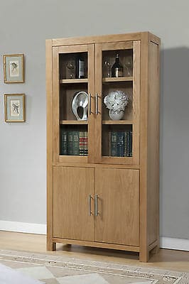 Brampton Solid Wood Chunky Oak Glass Fronted Large Display Cabinet Cupboard