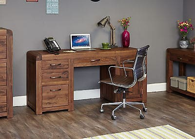 Baumhaus Solid Wood Walnut Twin Pedestal Home Office Computer Desk