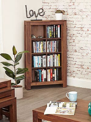 Baumhaus Solid Walnut Wood Open Cd Dvd Storage Cabinet Unit