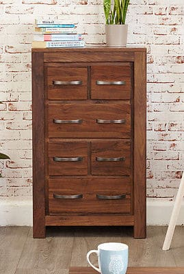 Baumhaus Solid Walnut Wood Chest Of Drawers Cd Dvd Storage Cupboard Cabinet Unit