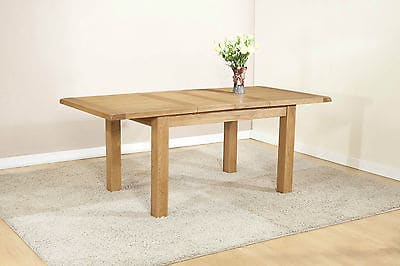 Burnham Solid Chunky Wood Rustic Oak Large Extending Dining Table With 2 Extensions