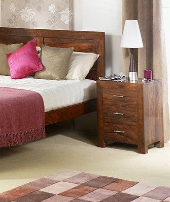 Cuba Solid Sheesham Chunky Wood 3 Drawer Bedside Cabinet Stand Unit