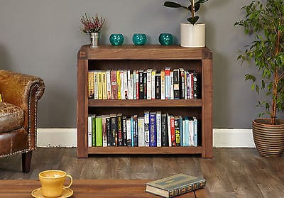 Baumhaus Solid Wood Walnut Small Low  Bookcase