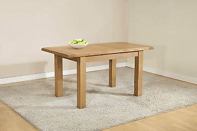 Burnham Solid Chunky Wood Rustic Oak Narrow Small Extending Dining Table