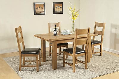 Burnham Solid Chunky Wood Rustic Oak Small Extending Dining Table With 4 Chairs