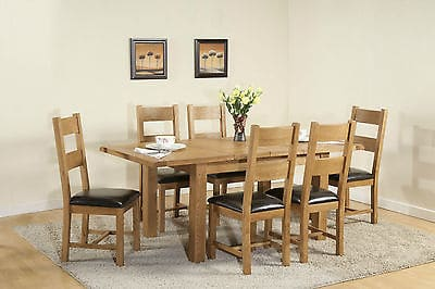 Burnham Solid Chunky Wood Rustic Oak Large Extending Dining Table With 6 Chairs