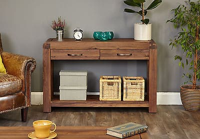Baumhaus Solid Wood Walnut Large Telephone Lamp Hall Console Table