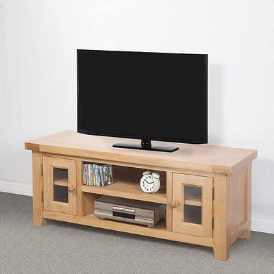 Bristol Solid Wood Chunky Oak Large Widescreen Tv Lcd Plasma Cabinet Stand Unit Msl Furniture