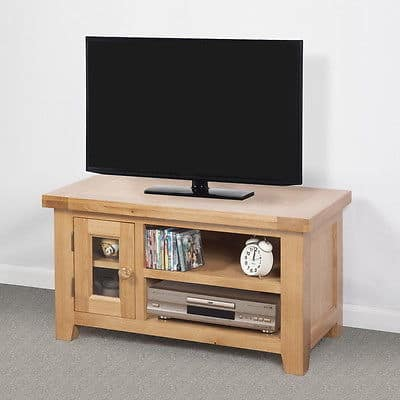 Bristol Solid Wood Chunky Oak Small Widescreen Tv Lcd Plasma Cabinet Stand Unit Msl Furniture
