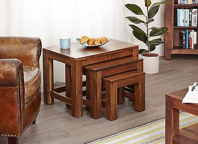 Baumhaus Solid Wood Walnut Nest Of 3 Tables