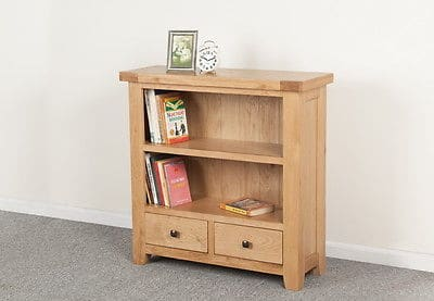 Bristol Solid Wood Chunky Oak Small Low Bookcase