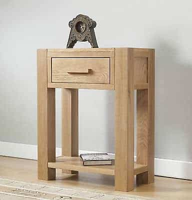 Brampton Solid Wood Chunky Oak Small Lamp Telephone Hall Console Table