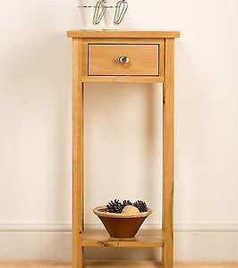 SOLID OAK TALL TELEPHONE LAMP SIDE TABLE STAND