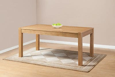 Brampton Solid Wood Chunky Oak Large Hidden Extending Dining Table With One Extension