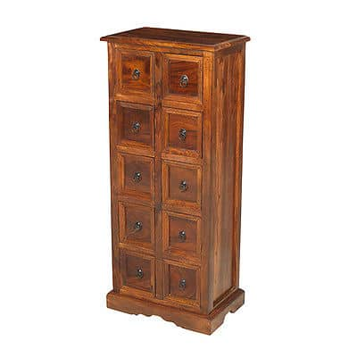 Madras Solid Jali Sheesham Wood Cd Storage Cabinet Stand Unit