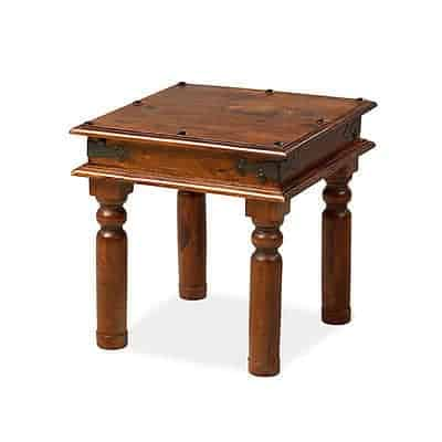 Madras Solid Sheesham Wood Jali Small Square Coffee Lamp Side Table