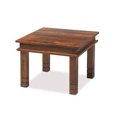 Madras Solid Sheesham Wood Chunky Large Square Coffee Lamp Side Table