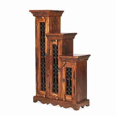 Madras Solid Jali Sheesham Wood Small Left Step Cd Storage Cupboard Cabinet Unit