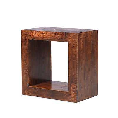 Cuba Solid Sheesham Chunky Wood 1 Hole Cube Open Bookcase Display Unit Msl Furniture