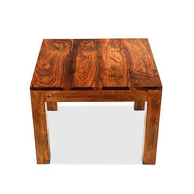 Cuba Solid Sheesham Chunky Wood Small Square Coffee Side Lamp Table Msl Furniture