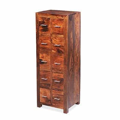 Cuba Solid Sheesham Chunky Wood 10 Drawer Cd Almirah Storage Unit