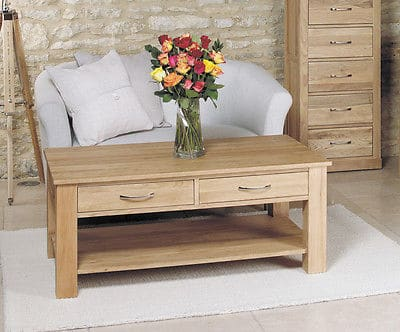 Baumhaus Mobel  Solid  Oak Large Coffee Table  And Shelf