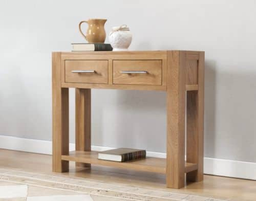 Brampton Solid Wood Chunky Oak Large Lamp Telephone Hall Console Table