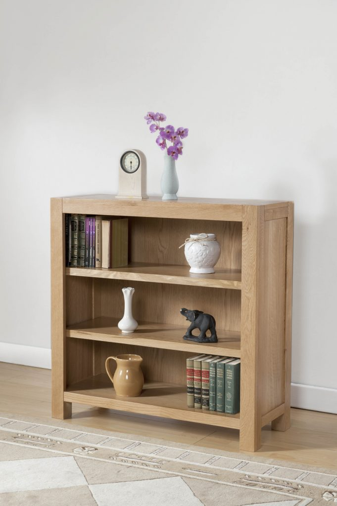 Brampton Solid Wood Chunky Oak Small Low Bookcase