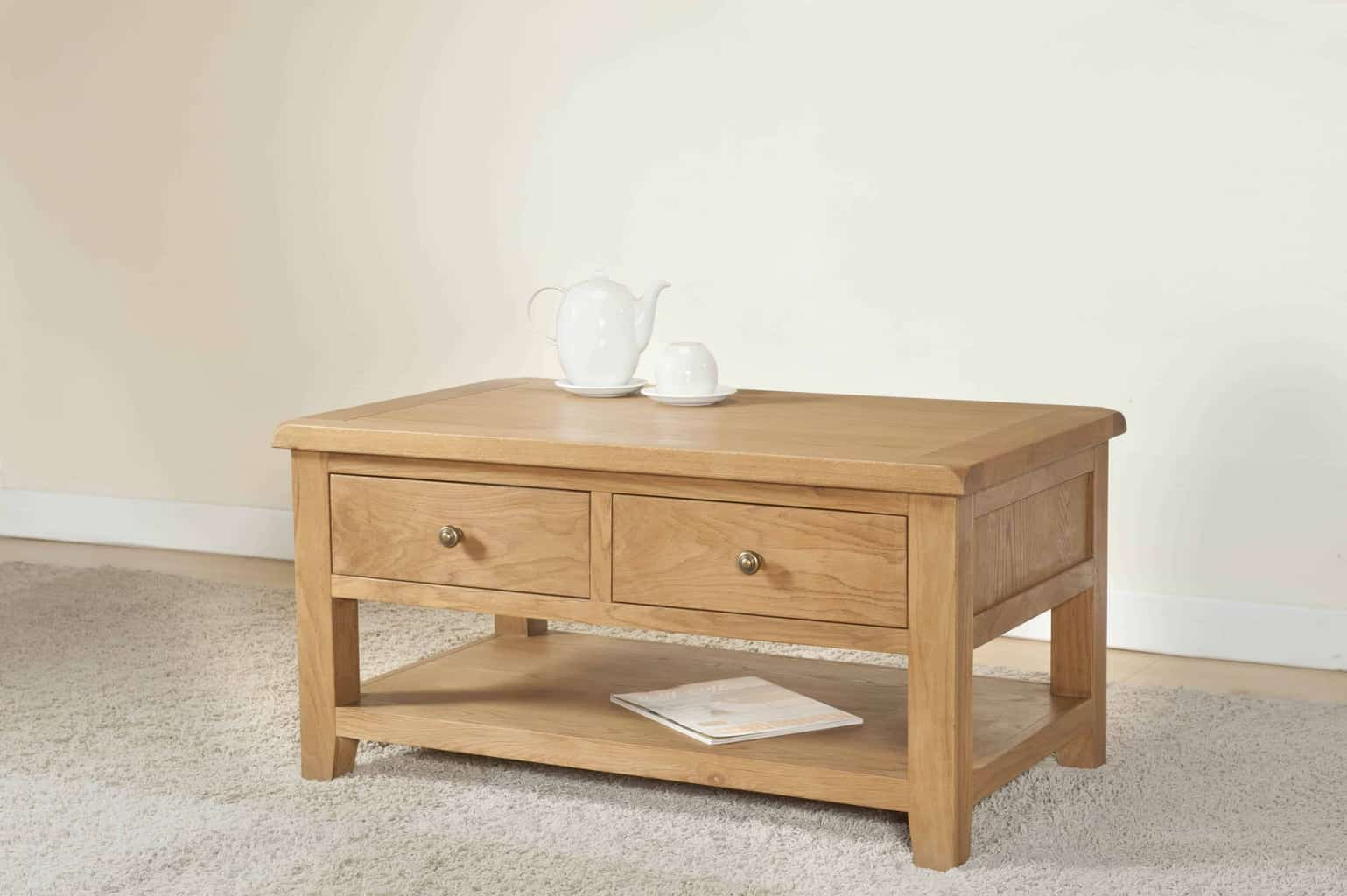 Burnham Solid Chunky Wood Rustic Oak Coffee Table With Drawers