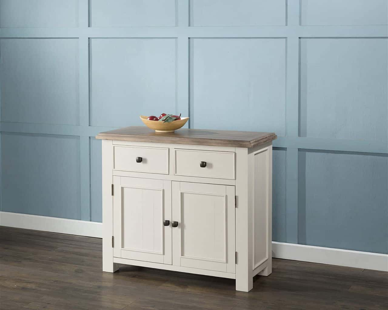 ANTIQUE WHITE PAINTED CHUNKY PINE WOOD MEDIUM SIDEBOARD CUPBOARD CABINET : MSL Furniture