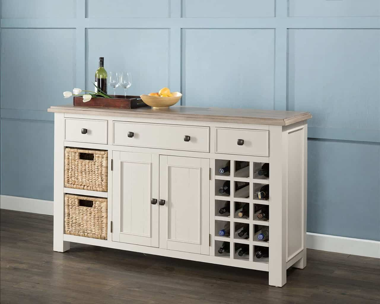 Kitchen Cabinet Handles Uk Antique White Painted Chunky Pine Wood Large Sideboard