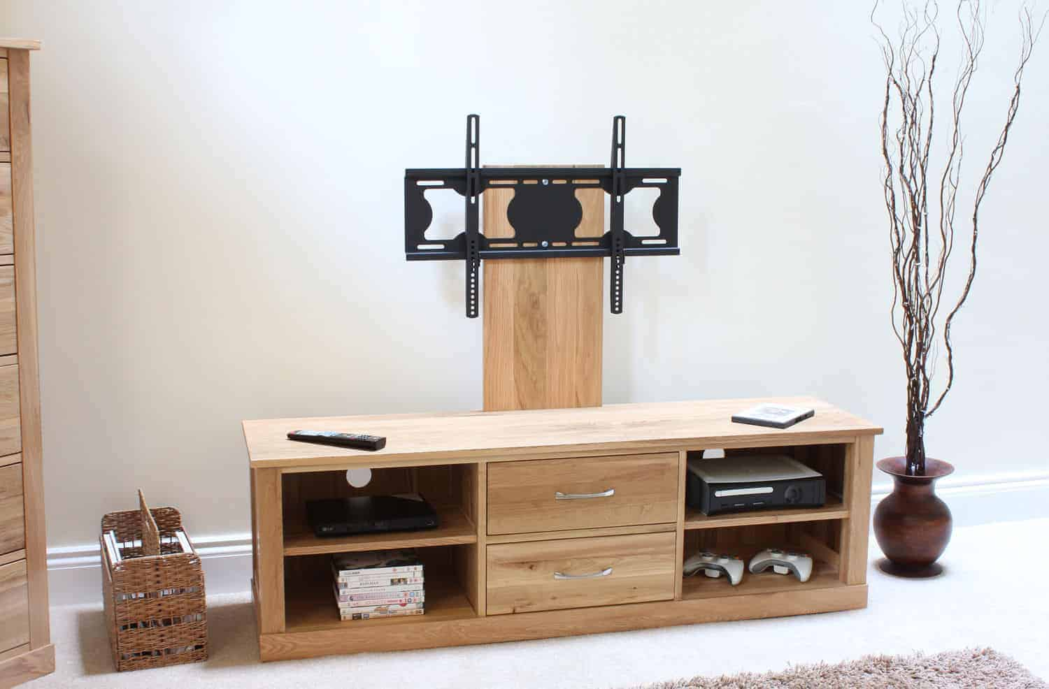 CONTEMPORARY SOLID OAK LARGE WIDESCREEN TV LCD PLASMA