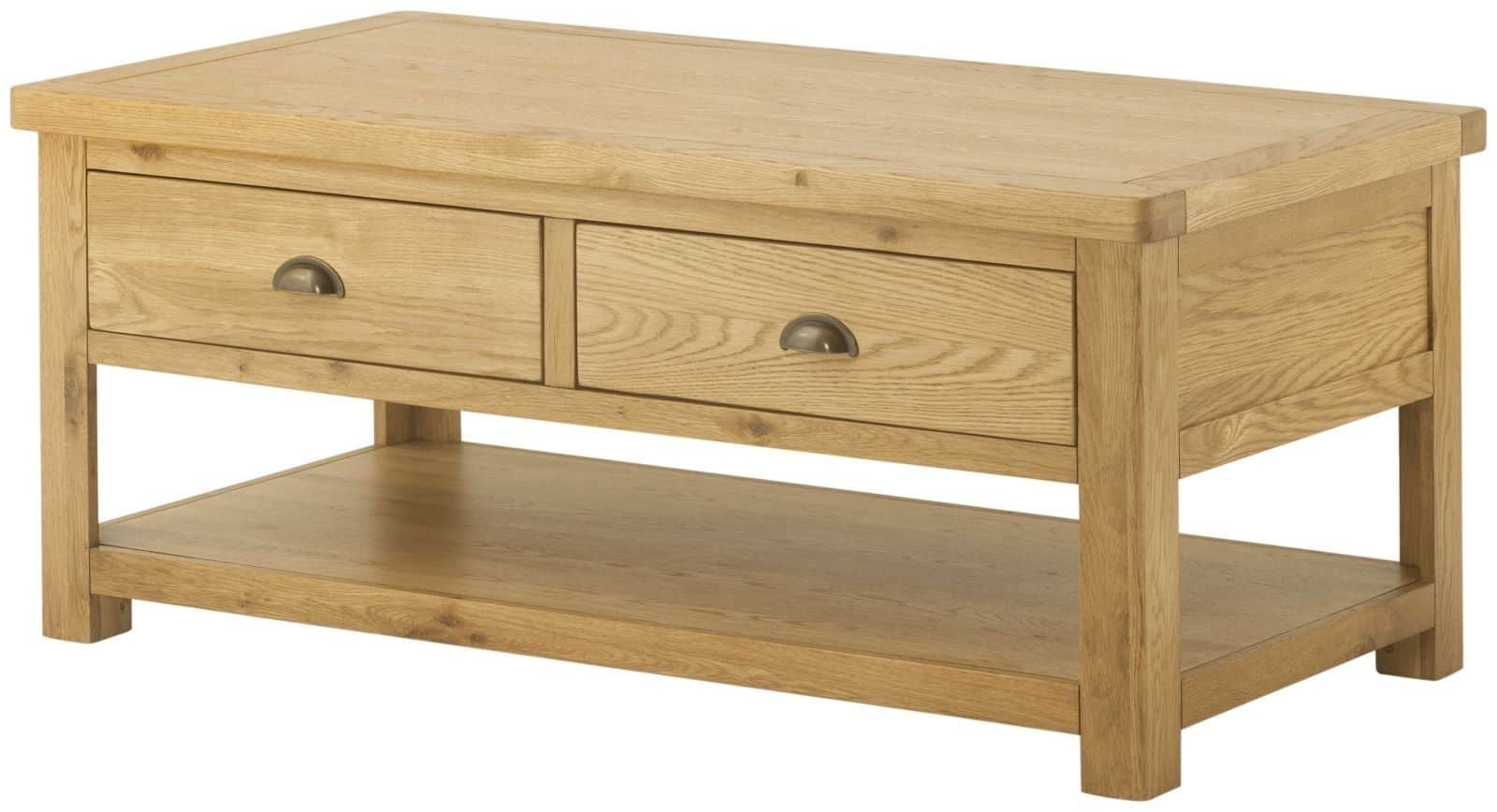Oxford Solid Chunky Rustic Oak Large Coffee Table With Drawers And Shelf
