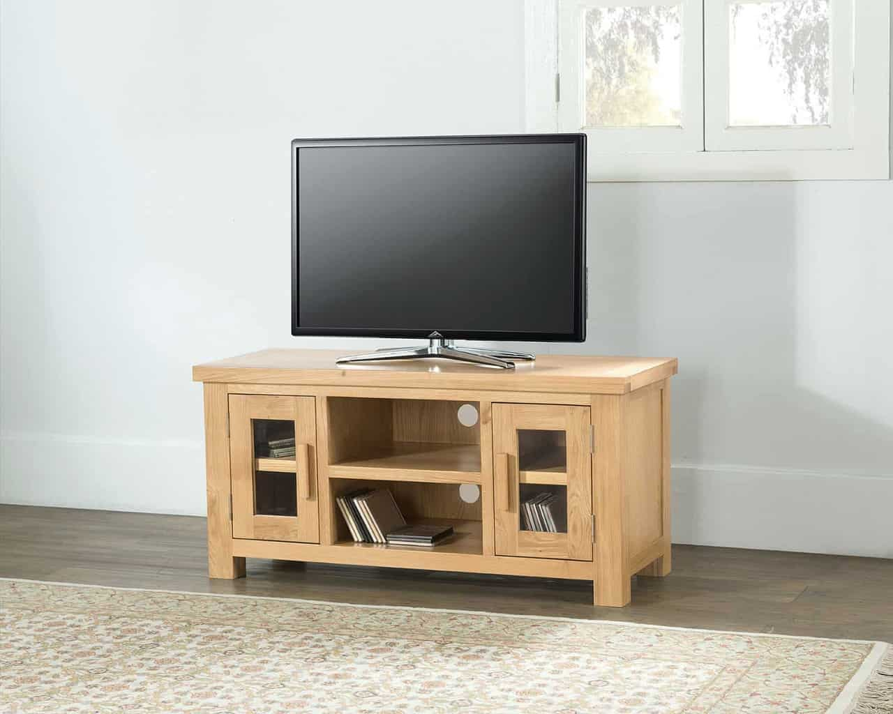 Valencia Solid Chunky Oak Large Widescreen Tv Lcd Plasma Cabinet Stand Unit Msl Furniture