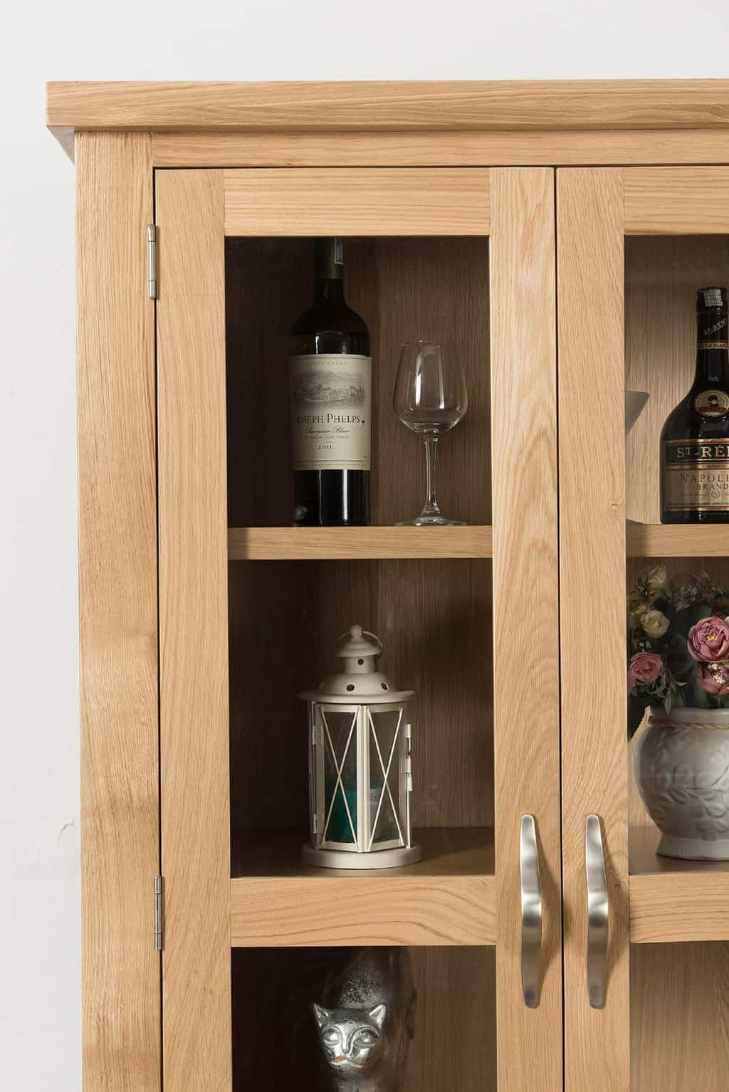 Valencia Solid Wood Chunky Oak Large Display Cabinet