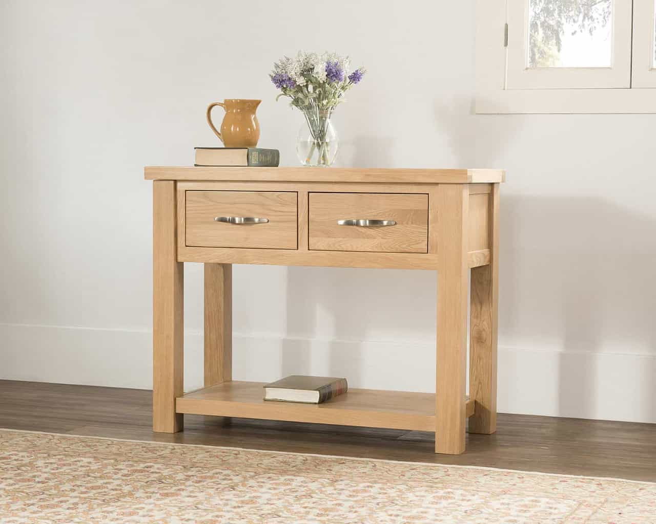 Valencia Solid Wood Chunky Oak Large Telephone Hall Console Table Unit Msl Furniture