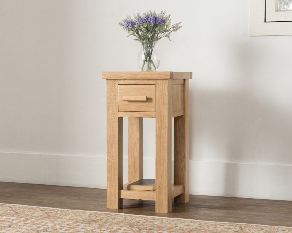Hudson Solid Wood Chunky Oak Small Telephone Hall Console Lamp Table Unit