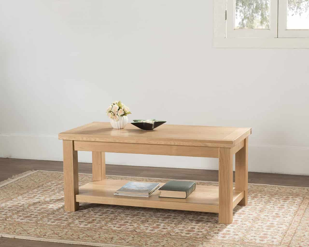 Valencia Solid Wood Chunky Oak Large Coffee Table With Shelf Msl Furniture