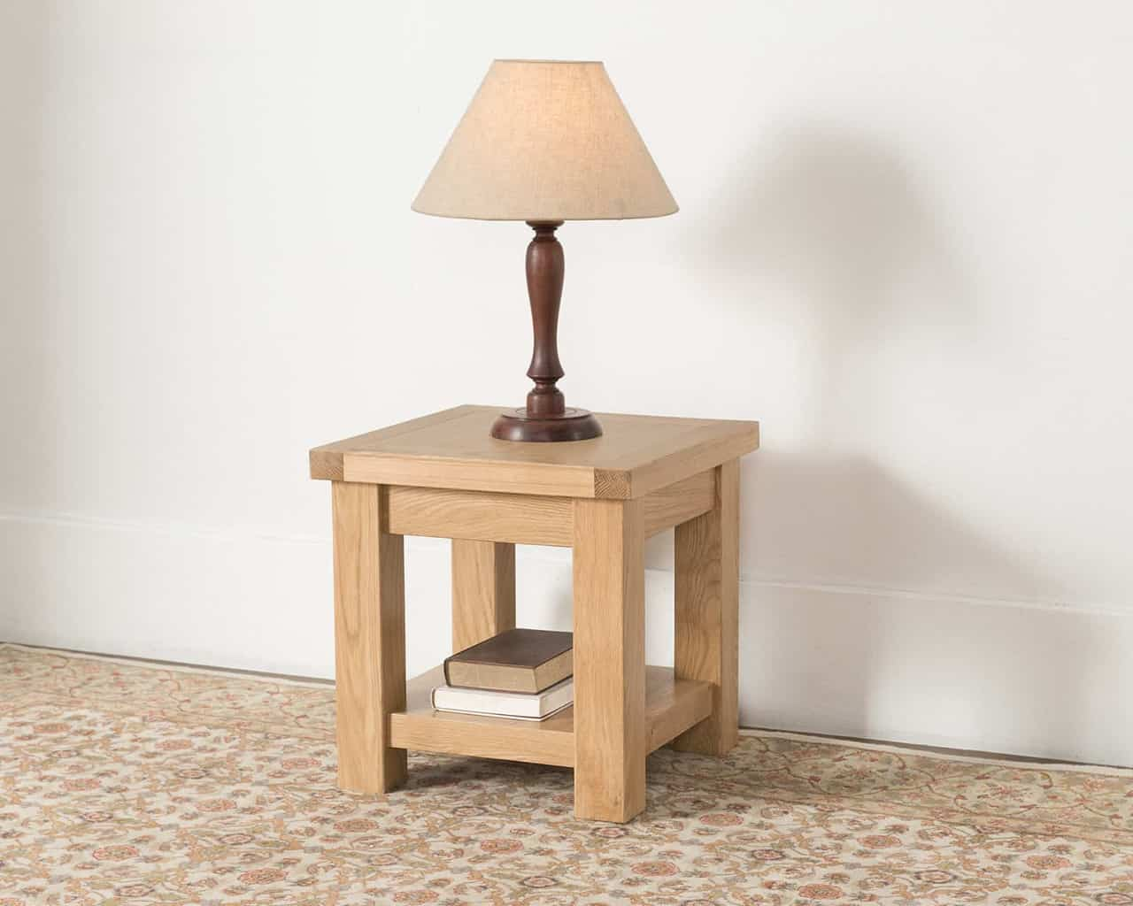 Valencia Solid Wood Chunky Oak Small Square Coffee Lamp