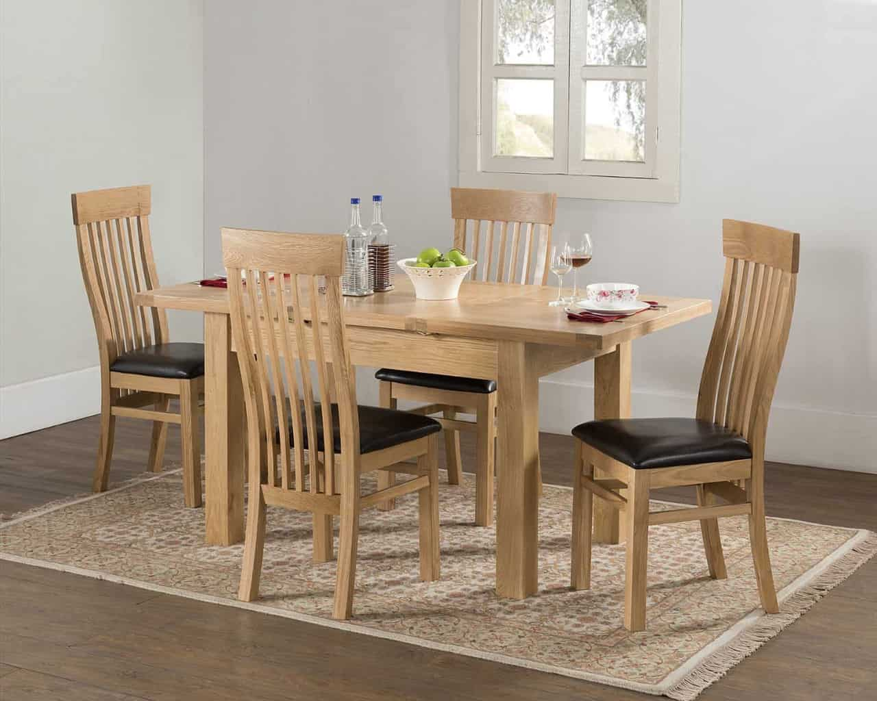 Valencia Solid Chunky Oak Narrow Butterfly Extending Dining Table With 4 Chairs Msl Furniture