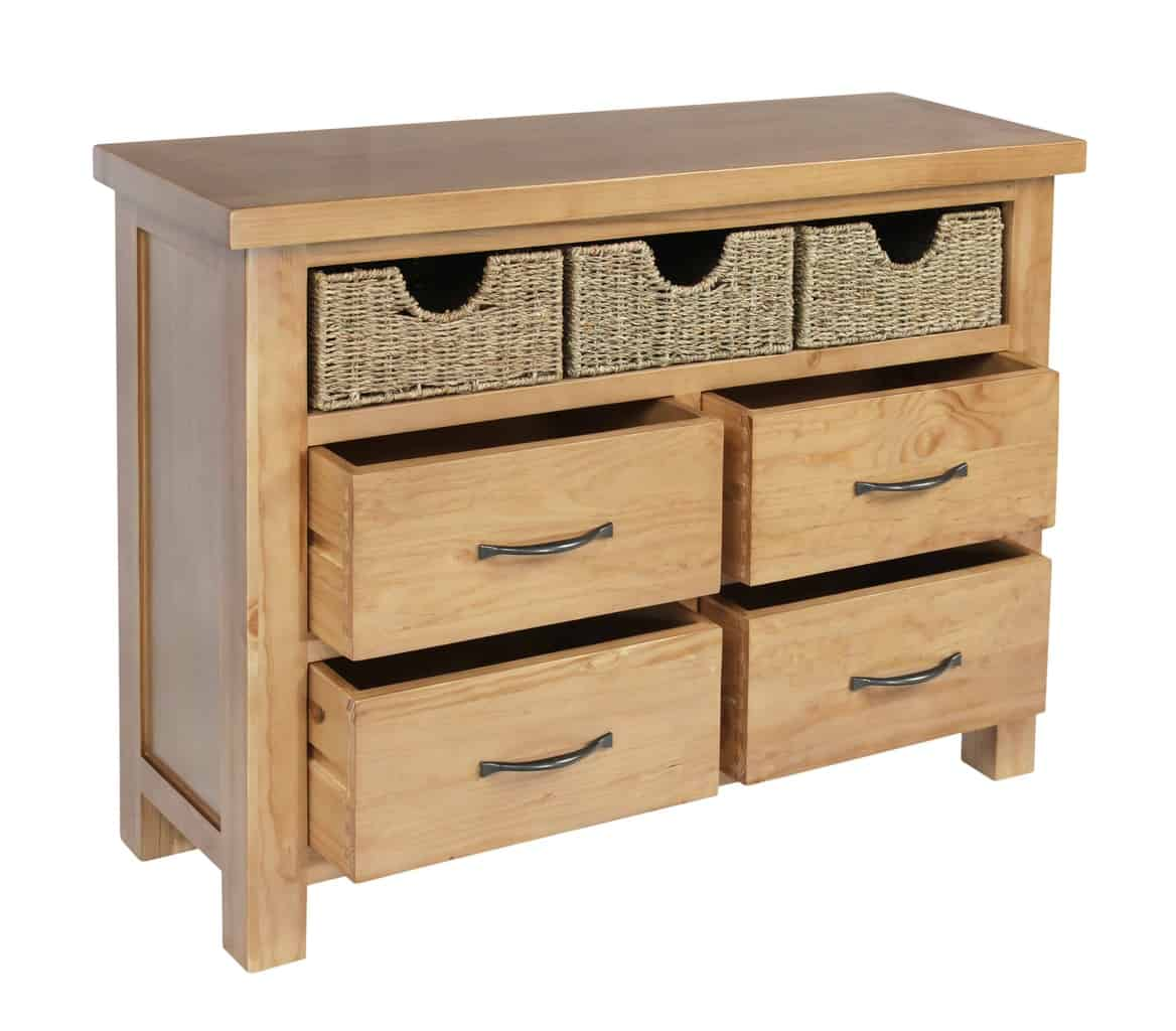 Pine Coffee Table With Baskets: SOLID WOOD CHUNKY PINE LARGE CHEST OF DRAWER STORAGE UNIT