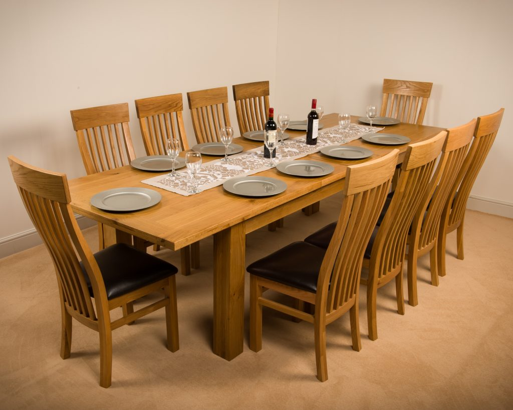 Msl Solid Wood Chunky Oak Extra Large Extending Dining Table With 10 Chairs