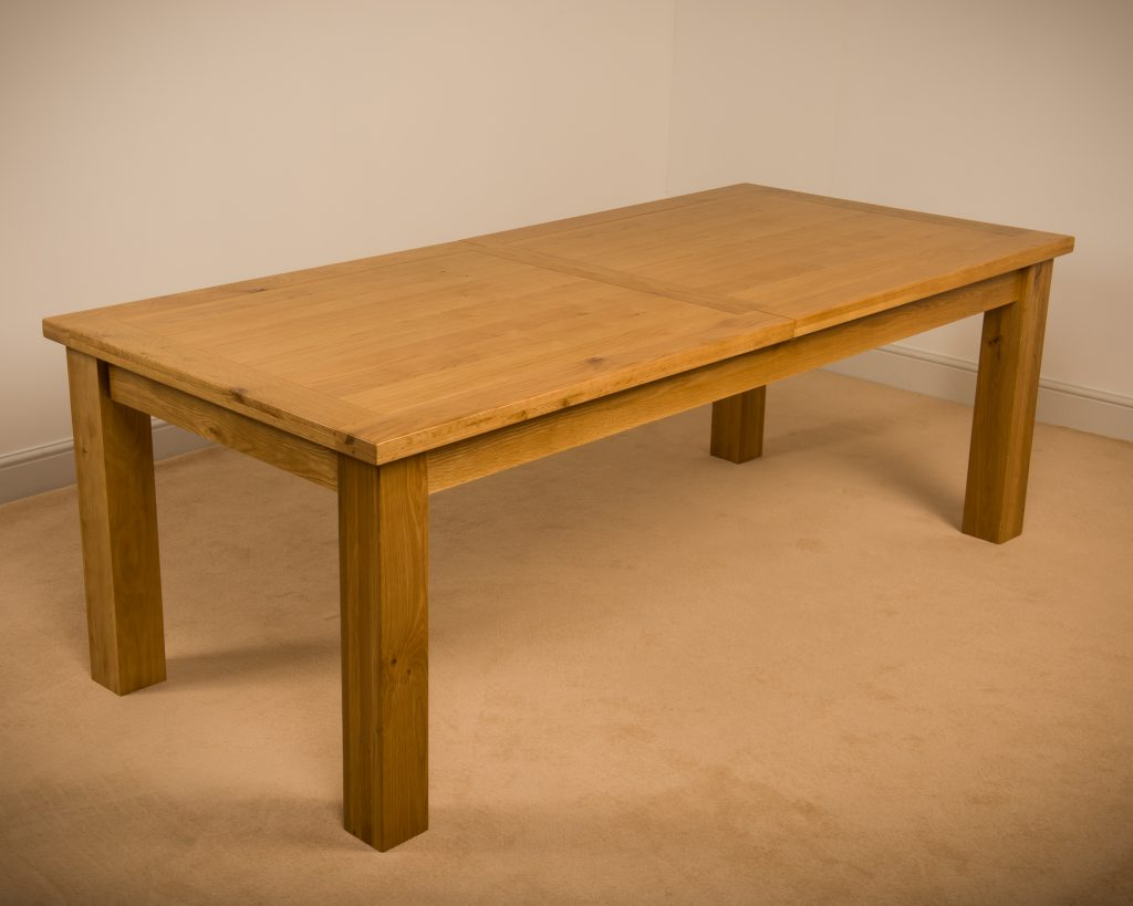 Solid Wood Chunky Oak Extra Large Extending Dining Table With Two Extensions
