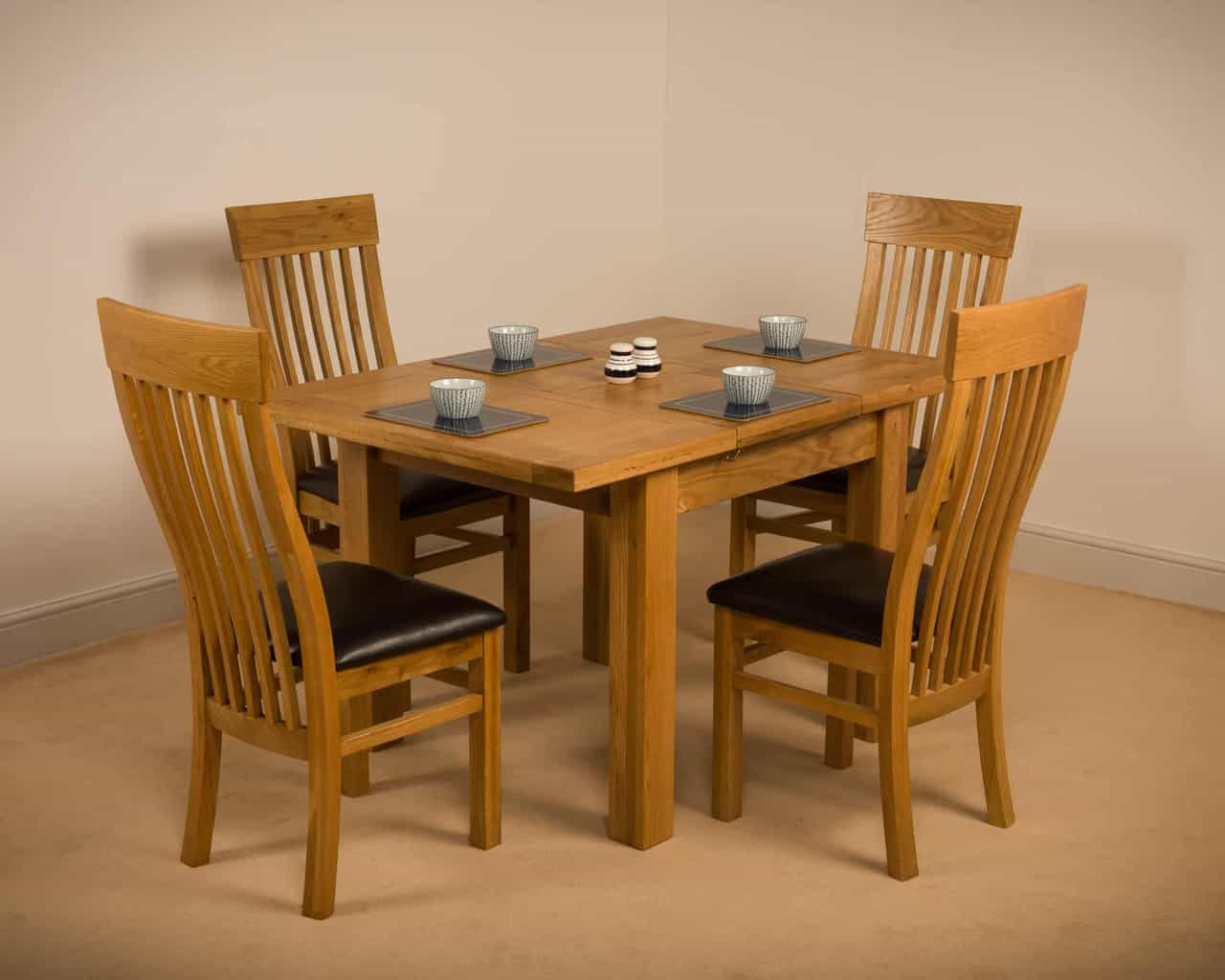 Devon Solid Wood Chunky Oak Square Small Extending Dining Table With 4 Chairs Msl Furniture