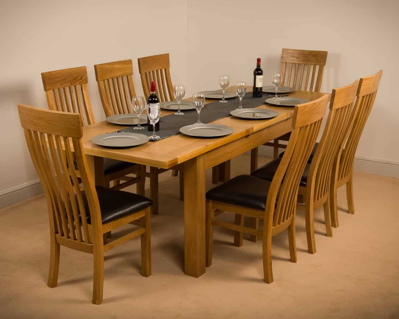 Msl Solid Wood Chunky Oak Large Extending Dining Table With 8 Chairs Msl Furniture