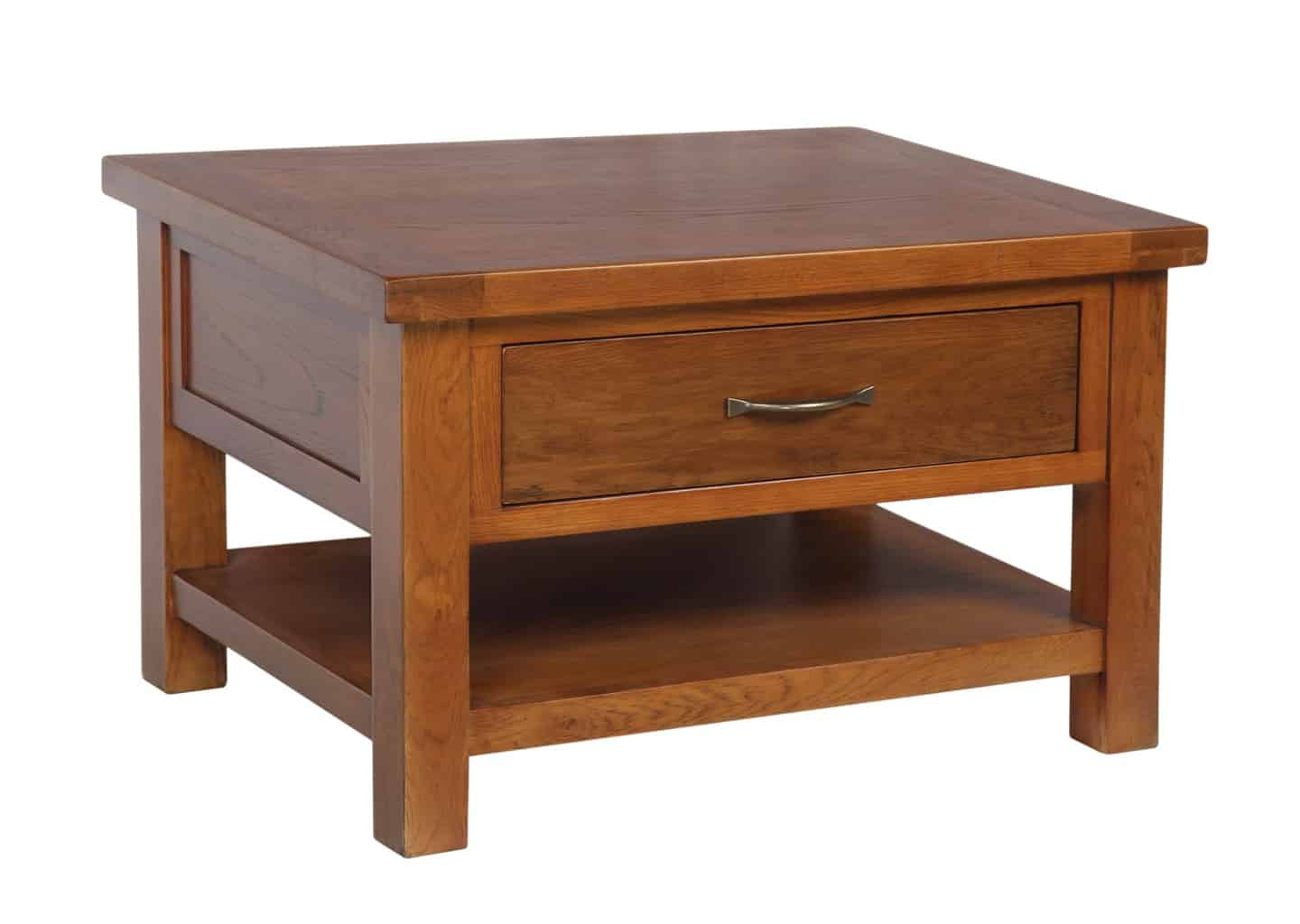Solid wood chunky dark oak small coffee table with drawer for Coffee tables 80cm wide