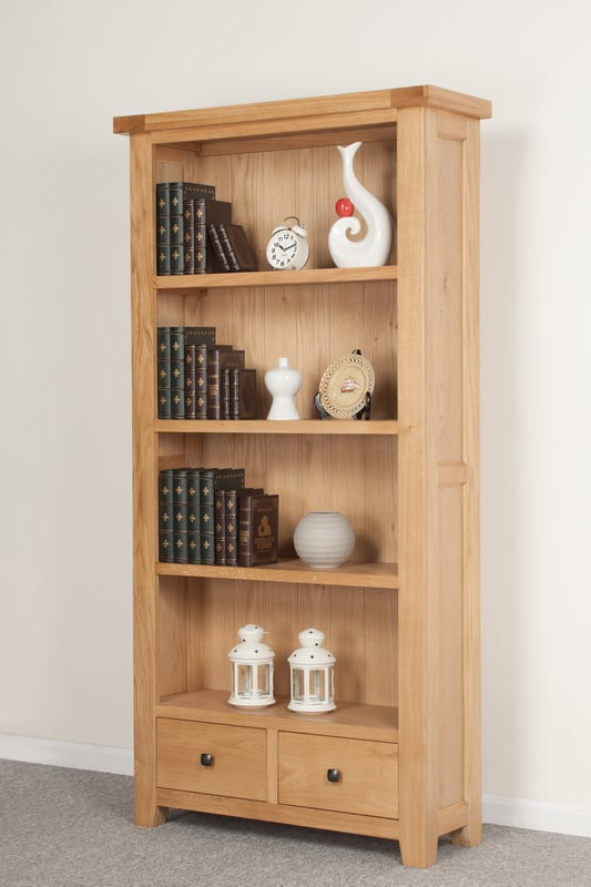 Bristol Solid Wood Chunky Oak Wide Large Bookcase