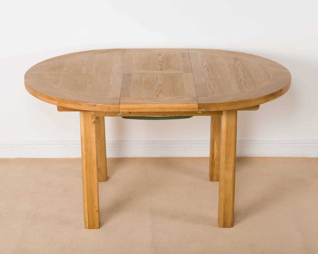 Shrewsbury solid chunky wood rustic oak round extending for Round table 99 rosenheim
