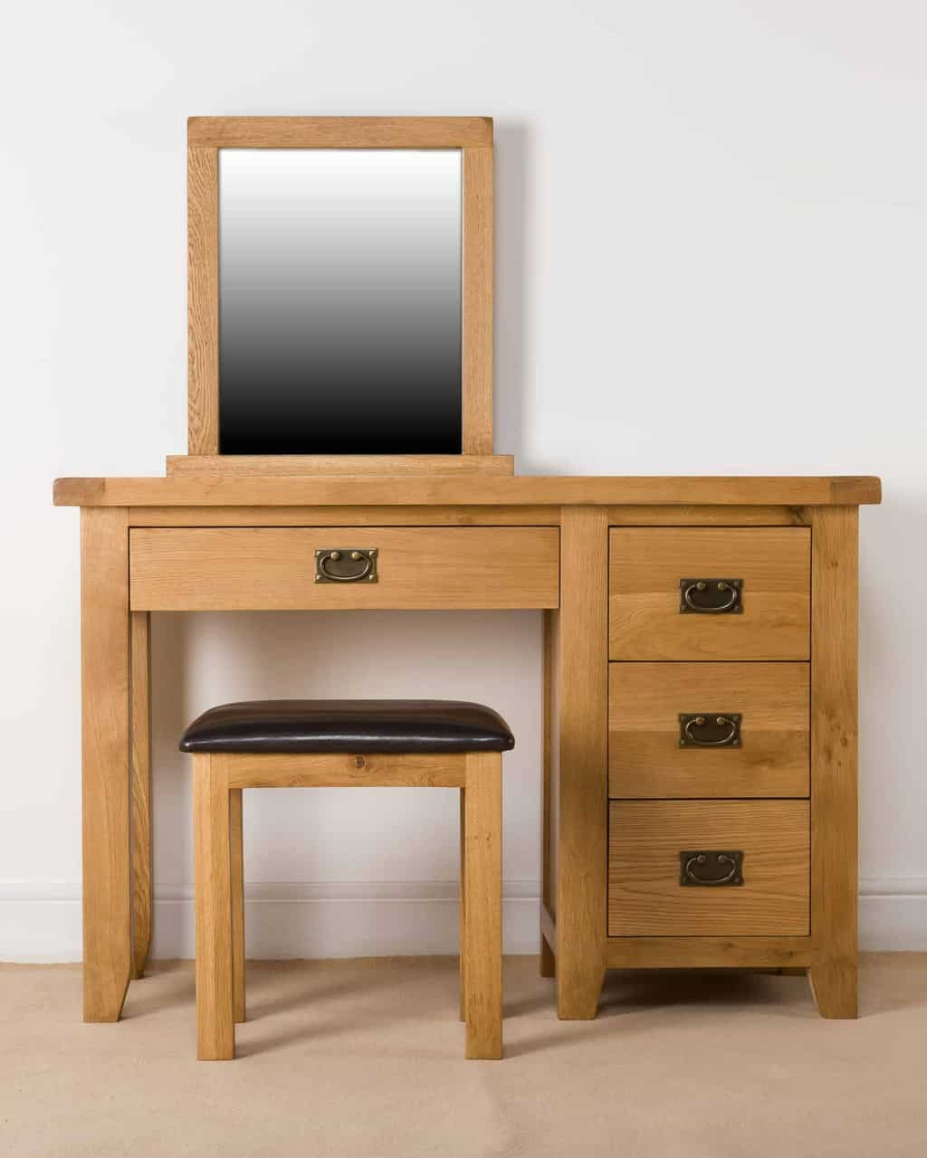 Shrewsbury solid chunky wood rustic oak dressing table for Dressing a dining room table